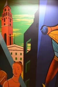 Costa Favolosa: Grandes paneles al estilo de De Chirico decoran pasillos de casi 300 metros de largo - Foto Carmen Silveira