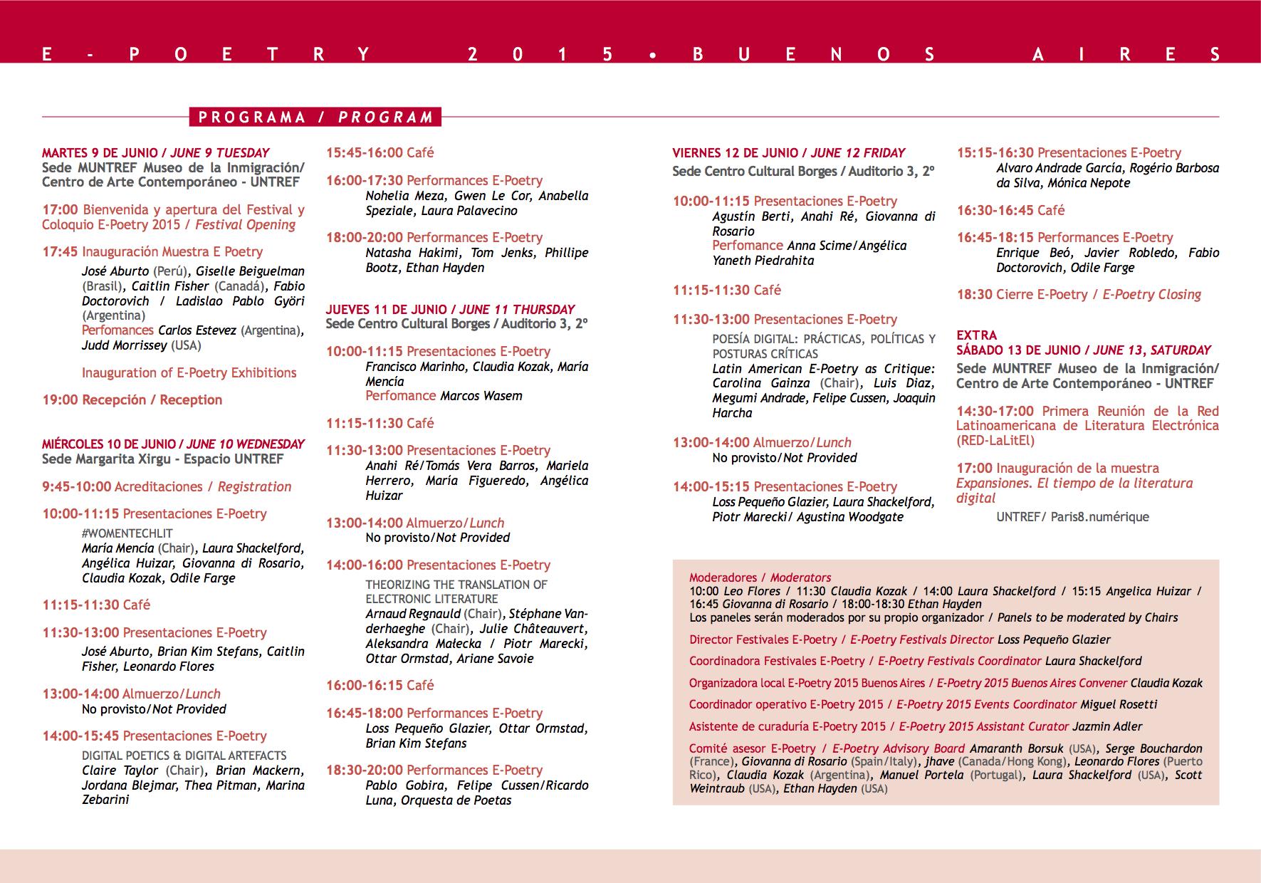 Programa E-Poetry 2015 en Untref