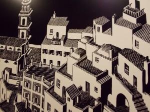 Zaandam: Reproducciones de grabados de Escher en las escaleras - Foto Carmen Silveira