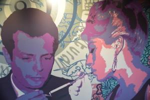 Marcello Mastroianni, en uno de los paneles que decoran el Fascinosa comparte la escena con la actriz francesa Anouk Aimee - Foto Carmen Silveira